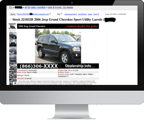 classified auto listing postings